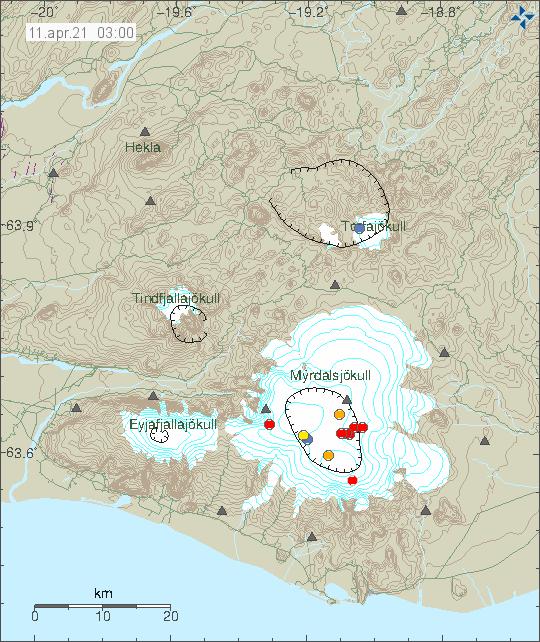 Djúpir jarðskjálftar í Kötlu sem ná frá austri til vestur.