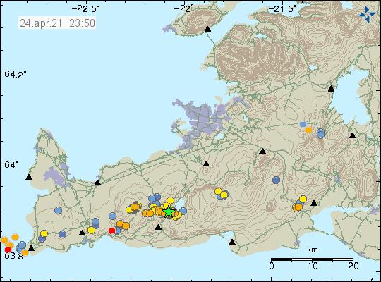 Jarðskjálftavirkni við Kleifarvatn er merkt með grænni stjörnu þar sem stærsti jarðskjálftinn átti sér stað