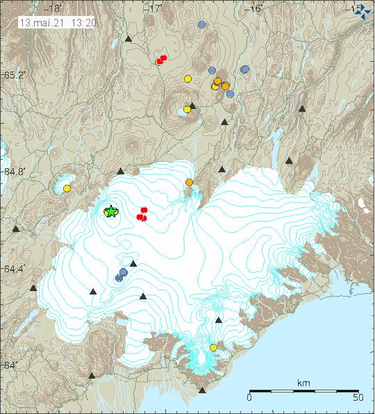 Græn stjarna í eldstöðinni Bárðarbunga sem er þakin Vatnajökli á korti frá Veðurstofu Íslands.