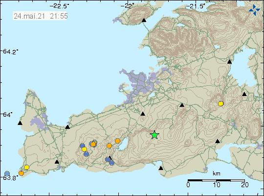 Græn stjarna þar sem jarðskjálftinn í Brennisteinsfjöllum varð á Reykjanesskaga.
