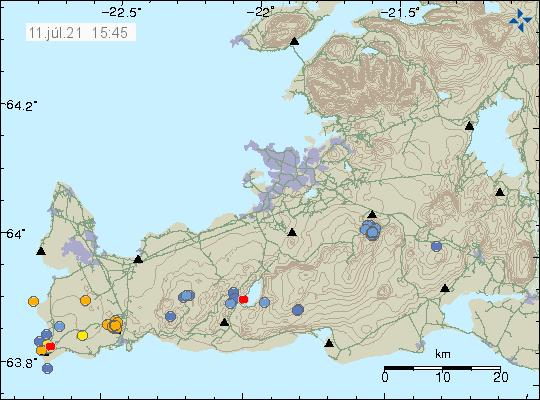 Jarðskjálftavirkni norður af Grindavík. Þar kom fram hópur af jarðskjálftum á korti Veðurstofunnar sem eru merktir sem appelsínugulir punktar.