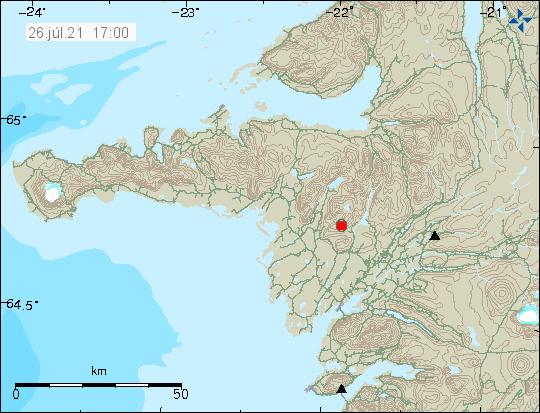Rauður punktur sýnir jarðskjálftavirknina í eldstöðinni í Ljósufjöllum á vesturhluta Íslands.